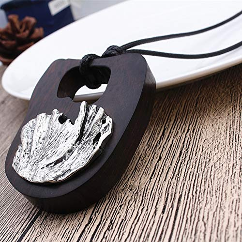Davitu New Arrive Sandalwood Pendant Necklace for Women Men Vintage Wooden Necklace Long Rope Chain Necklace Jewelry collares Metal Color: as Picture