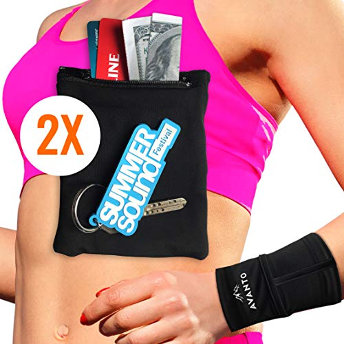 AVANTO Ninja Wrist Wallet, Ankle Wallet, Sweat Bands, Armband, Hidden Pouch, Wristlet Wallet for Travel, Running Pouch for Your Running Accessories, 2-Pack, Black, M/L
