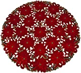 "Linens, Art and Things Embroidered Elegant Rich Christmas Red Poinsettia Gold Thread Green Leaves Holiday Doily Small Round Tablecloth Centerpiece 36"" Round"