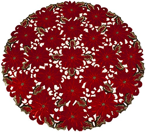gs Embroidered Elegant Rich Christmas Red Poinsettia Gold Thread Green Leaves Holiday Doily Small Round Tablecloth Centerpiece 36