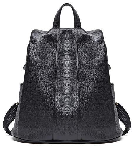 (BOYATU Genuine Leather Backpack for Women Anti-theft Rucksack Ladies Travel Bag (Black-Back Open))