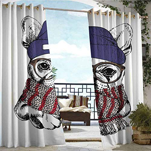 Bulldog Camo Panel - Qenuan Outdoor Curtain Panel for Patio,Bulldog,Hand Drawn Style Portrait of Cozy Winter Dog Wearing a Scarf Beanie and Glasses,Multicolor,Grommet Curtains for Bedroom63 x63 inch