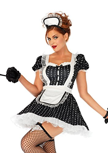 Leg Avenue Women's Sexy French Maid Costume, Black/White, Sml/Med -