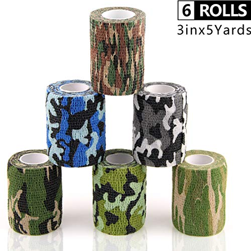 AUPCON Vet Wrap Self Adherent Wrap Cohesive Bandage Tape Animal Bandage Self Adhesive Bandages for Horse, Pets & Ankle Sprains & Swelling 3 Inches 6 Rolls Camo