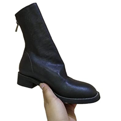 Women Soft Sheep Skin Mid Calf Boots Round Toe Low Heel Motorcycle Boots