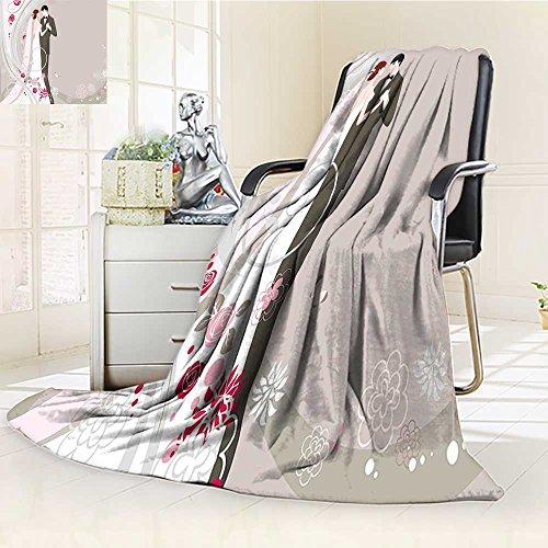 AmaPark Digital Printing Blanket Wedding Ceremony Embellishments Bride and Groom Grey Black Pink Summer Quilt Comforter -