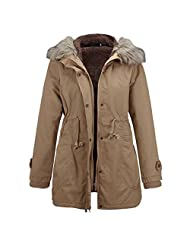 Ownmagi Women Slim Winter Jacket Fur Collar Hooded Warm Thick Padded Coat Outwear
