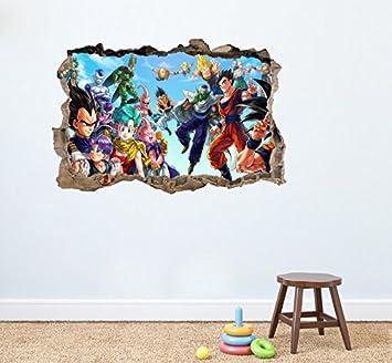 Dragon Ball Z Rond Sticker Mural Home Decor Autocollant Mural