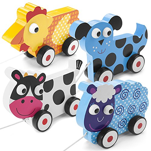 Push-n-Pull 4-Pack: Swirly Sheep, Spotted Cow, Plaid Hen, and Dalmatian Puppy by Imagination Generation ()