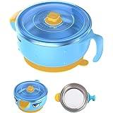VALUEDER 双层 Keep Food 保温碗和凉爽食物婴儿碗(12 盎司,粉色和蓝色) 蓝色