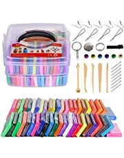 Polymer Clay LCHM 46 Colors Oven Bake Clay Nontoxic Modeling Clay DIY Soft Craft Clay Set with Sculpting Tools and Accessories in Storage Box for Kids