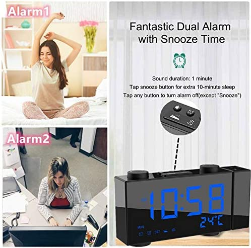 Projection Alarm Clock with FM Radio Snooze Temperature USB Phone Charger Functions 5 Dimmer Clear Big Blue Digit 6 LED Blue Screen Perfect for Bedroom Easy to Use 180/° Rotatable Projector