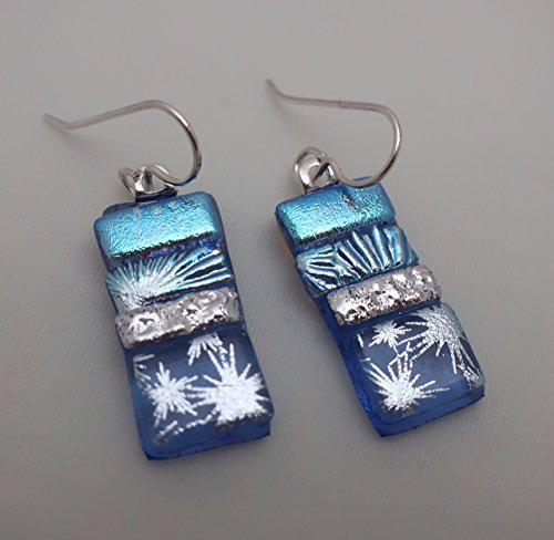 Blue star patchwork dichroic fused glass long dangle earrings Sterling Silver ear wires