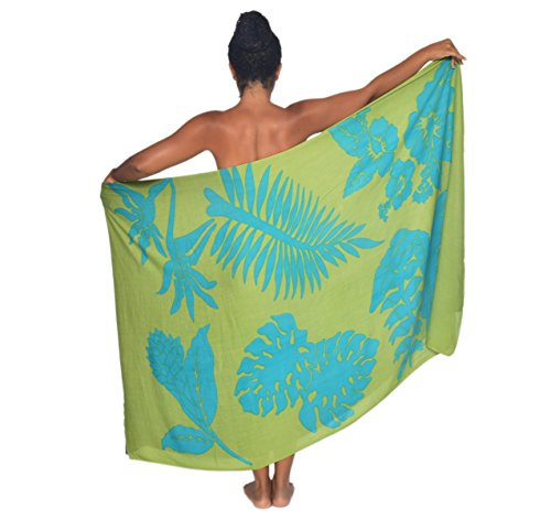 Tahitian Tropical Flower Hawaii Sarong Pareo BeachWrap Swimsuit Coverup