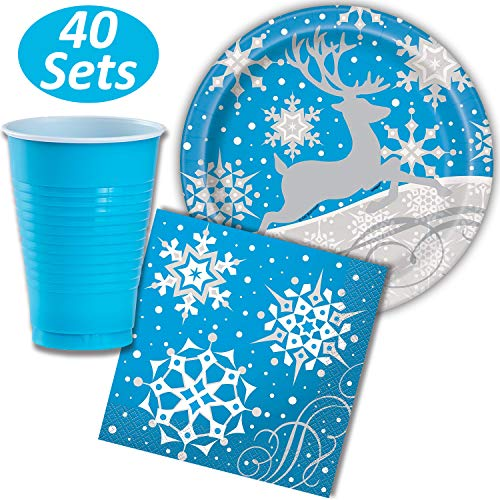 Winter Snow Dinner Plates, Napkins, and Plastic Cups, 12 oz - 40 each (120 Total) - Blue, Silver and White with Snowflakes and Reindeer - Perfect Disposable Party Supplies for Christmas or December Ho