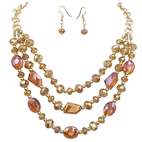 3 Row Layered Beveled Glass Beaded Boutique Style Necklace and Dangle Earrings Set (Orange Topaz Tone)