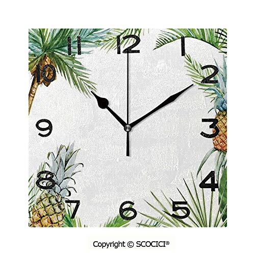 SCOCICI Square Wall Clock Watercolor Tropical Island Style Border Print Exotic Fruit Palm Trees and Leaves 8 inch Morden Wall Clocks Silent Square Decorative Clock