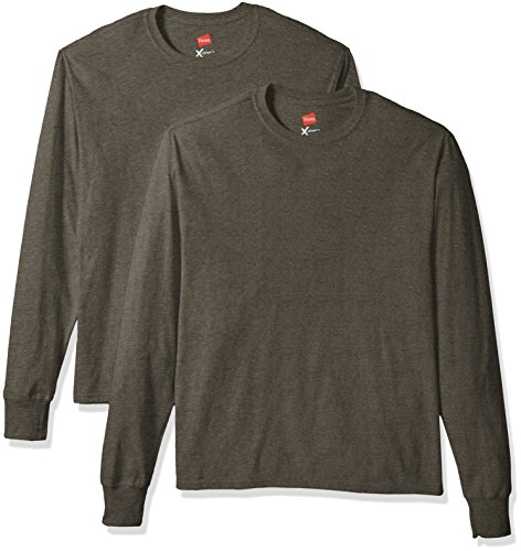 Hanes Men's 2 Pk X-Temp Long Sleeve Tee, Camouflage Green Heather, X-Large