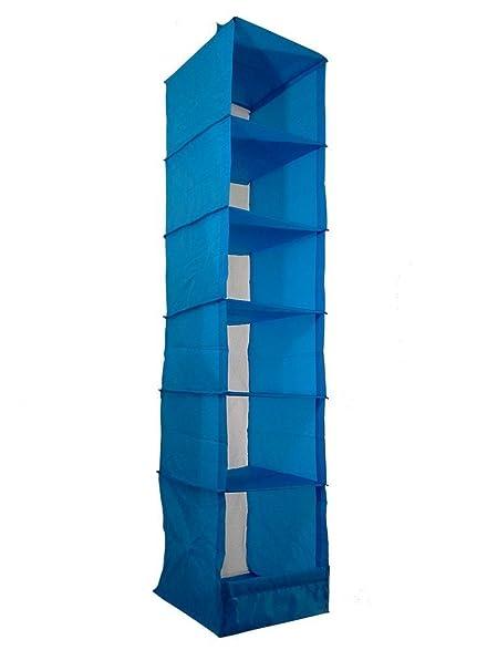 FHL 6 Shelves Hanging Closet Organizer Storage Accessory (Blue)