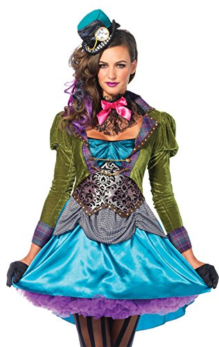 UHC Women's Alice in Wonderland Mad Hatter Deluxe Outfit Adult Fancy Costume, S (4-6)