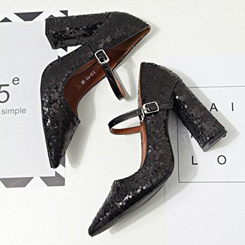 Sequins superficielle pointe Vêtements pour Sandales LvYuan bouche chaussures mxx à pointu Talon Carrière Chunky Boucle amp; 37 talons Bureau hauts et Casual BLACK femmes Été printemps Wp60P5PUn