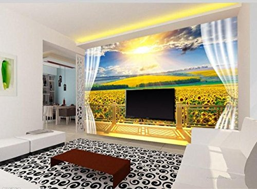 Sprooudbz 3 D 大規模な田園風景ひまわり植物壁紙 350 cmX 245 cm 壁の壁画 B0741VMHDX 350cmX245cm