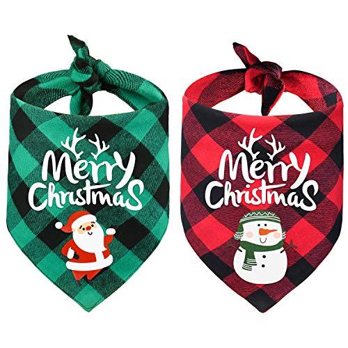 Yoochee 2 Pack Christmas Dog Bandana Buffalo Plaid - Merry Christmas Santa and Snowman Prints - Reversible Double-Layer Triangle Scarf - Classic Pet Dog Cat Apparel Accessories Supplies (Black Plaid)
