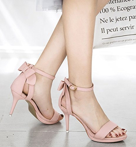 With Chic Bow Aisun Open Platform Buckled Sandals Toe Women's Pink f0xqCwp