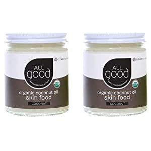 All Good Organic Coconut Oil Skin Food - Natural Moisturizing Skin Care - Non GMO - Vegan (2-Pack) (Coconut)