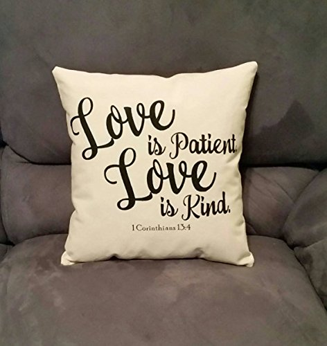 Amazing Fancy Dress Ideas (Inspirational wedding gifts | Love is Patient | Love is Kind | I Corinthians 13:4 | 14x14 inch pillow | Anniversary Gift Ideas For Wife)