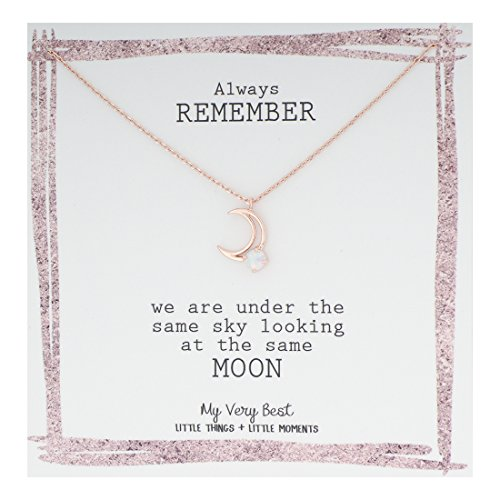 My Very Best Delicate Line Crescent Moon Pendant with Simulated Opal Stone Necklace (rose gold plated - Necklace Opal Moon