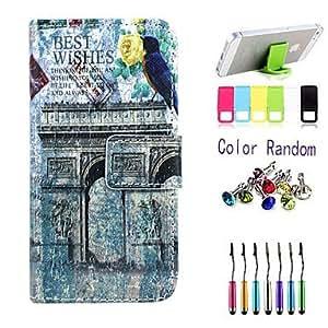 WQQ el patrón de arco del triunfo caso de cuerpo completo con lápiz, enchufe del anti-polvo y soporte para el iPhone 5 / 5s