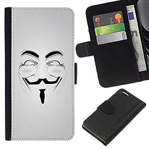 EJOY---La carpeta del tirón la caja de cuero de alta calidad de la PU Caso protector / Apple Iphone 5C / --Anonymous máscara de Guy Fawkes Libertad