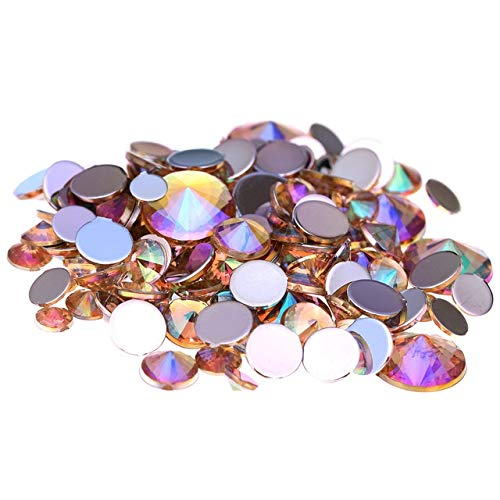 - Kamas 1000pcs 4mm Acrylic Rhinestones AB Colors Flatback Pointed Silver Foiled Glue On Beads For Nails Art Phone Cases DIY Decorations - (Color: 04 light ab)