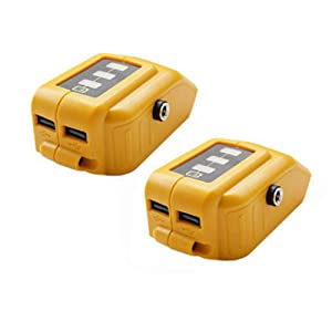 2 Pack USB Power Source Adapter For Dewalt DCB091 Li-ion Battery USB Charging Converter With DC 12V Output Heated Jacket