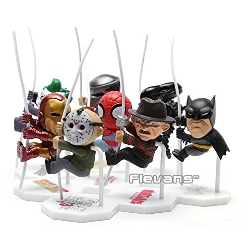 Spider Man Bed Tent - Superheroes Q Version Spiderman Batman Alien Joker Predators Freddy Jason PVC Action Figure Toys Dolls 8pcs/set