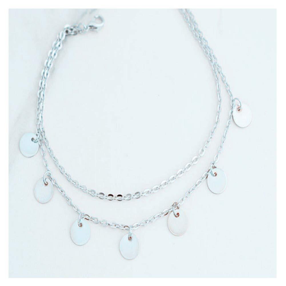 URUHR Alloy Chain Bracelet Bohemia Beach Anklets Chain Stretch for Women Girls