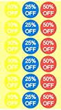 10% 25% 50% Percent Off Stickers 3/4 Inch 1500 Adhesive Stickers, Yellow, Blue, Red With White Lettering