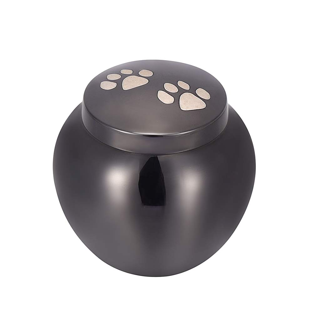 Black Pet Paw Print Ashes Urn for Dog Cat Funeral Cremains Casket 316L Stainless Steel Cremation Mini Urn for Keepsake,Black