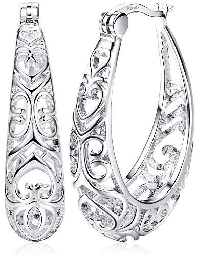Milacolato Sterling Silver Hoop Earrings Textured Filigree Round Earrings for Women