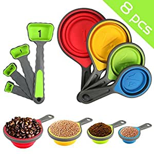 Nlife 8pcs Collapsible Silicone Measuring Cups Measuring Spoons Perfect for Pet Food, Coffee, Supplements, Flour, Grains, Lentils, Spices, Honey, and Liquids