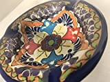 Talavera Ceramic Ashtray 4 1/2'' Modern Art Design Authentic Puebla Mexico Pottery Hand Painted Design Vivid Colorful Art Decor Signed [Burgundy Flower]