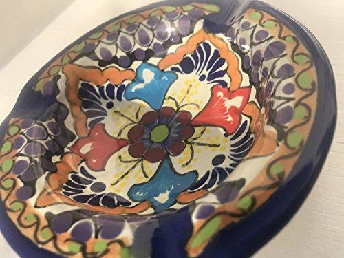 (Talavera Ceramic Ashtray 4 1/2'' Modern Art Design Authentic Puebla Mexico Pottery Hand Painted Design Vivid Colorful Art Decor Signed [Burgundy Flower])