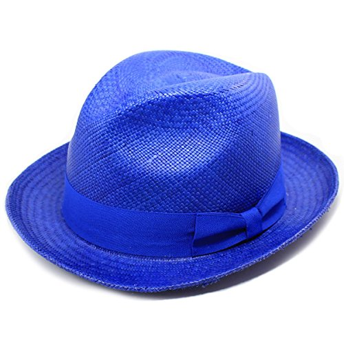 Edward Armah Men's Handmade Straw Fedora Hat, Cobalt Blue (Medium)