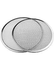 Runtodo 12Inch/14Inch Non-Stick Pizza Screen Pan Baking Tray Set -New Seamless Aluminum Pizza Net Bakeware Kitchen Tools