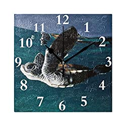 HangWang Wall Clock Turtle Flying The Water Silent Non Ticking Decorative Square Digital Clocks for Home/Office/School Clock