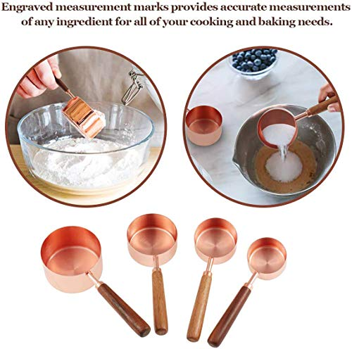 8 Pcs Measuring Spoons and Cups, Global-store Stackable Rose Gold Stainless Steel Measuring Cups and Spoons Set with Engraved Marking Ruler for Dry Liquid Ingredients Cooking Baking