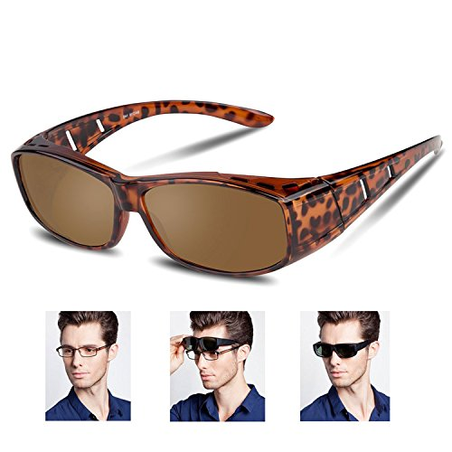 Over glasses sunglasses Polarized for men women/Sunglasses Wear Over /fit over Prescription Glasses UV400 Outdoor sports Driving sunglasses (Leopard, - Sports Prescription Sunglasses