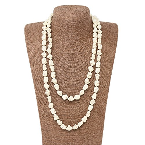 Beads Source Knotted Necklace 52 inches Chip Turquoise Handmade Jewelry. (White Turquoise)