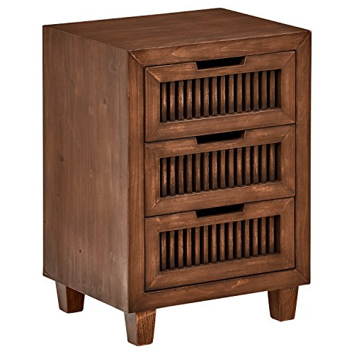- Stone & Beam Cabernet Slatted 3-Drawer Side End Table Nightstand, 18.9